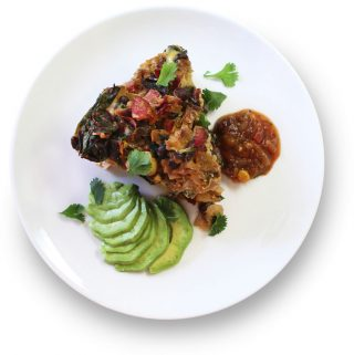 Spicy chipotle frittata with avocado and salsa plated
