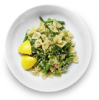 Bow of asparagus and pea pasta with lemon, dill and feta.