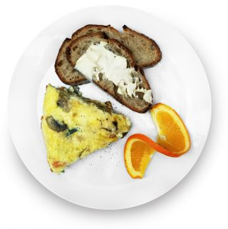 Smoked salmon frittata with buttered sourdough and an orange wedge on the side.