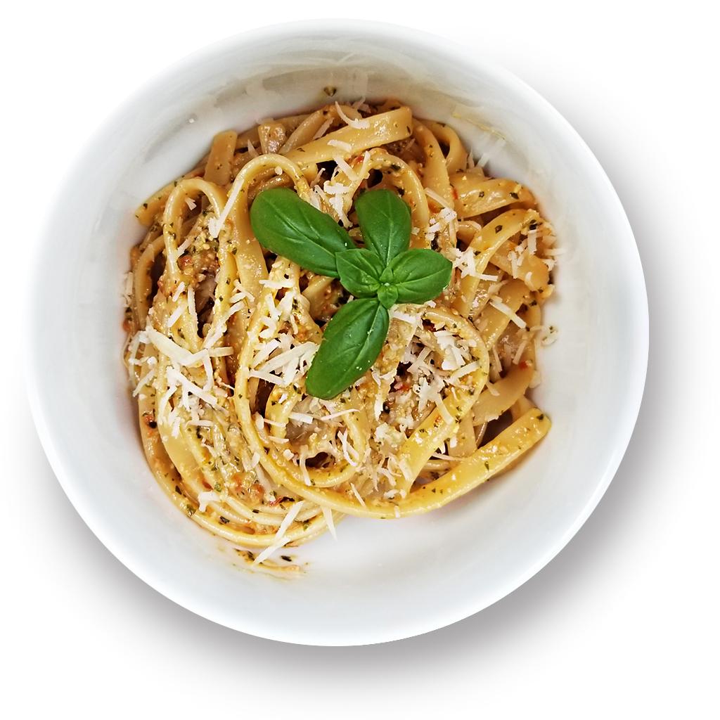 Sun-Dried Tomato pesto pasta in a bowl.