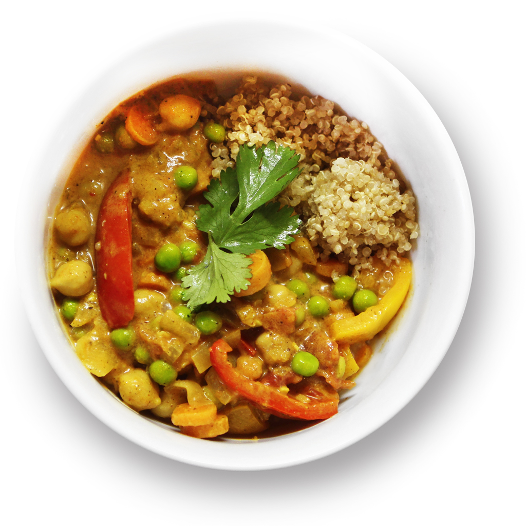 Curry with Mixed Vegetables Over Quinoa in a Bowl.