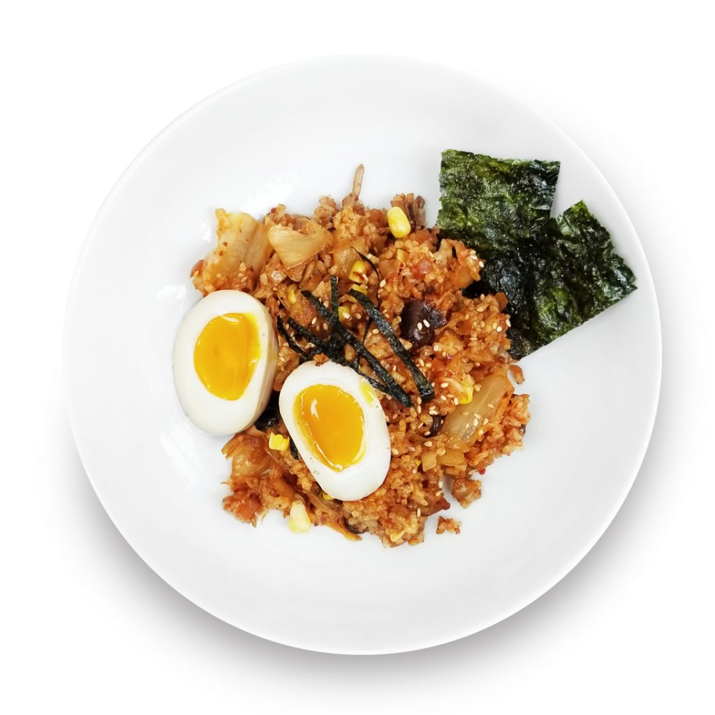 Kimchi fried rice in a bowl.