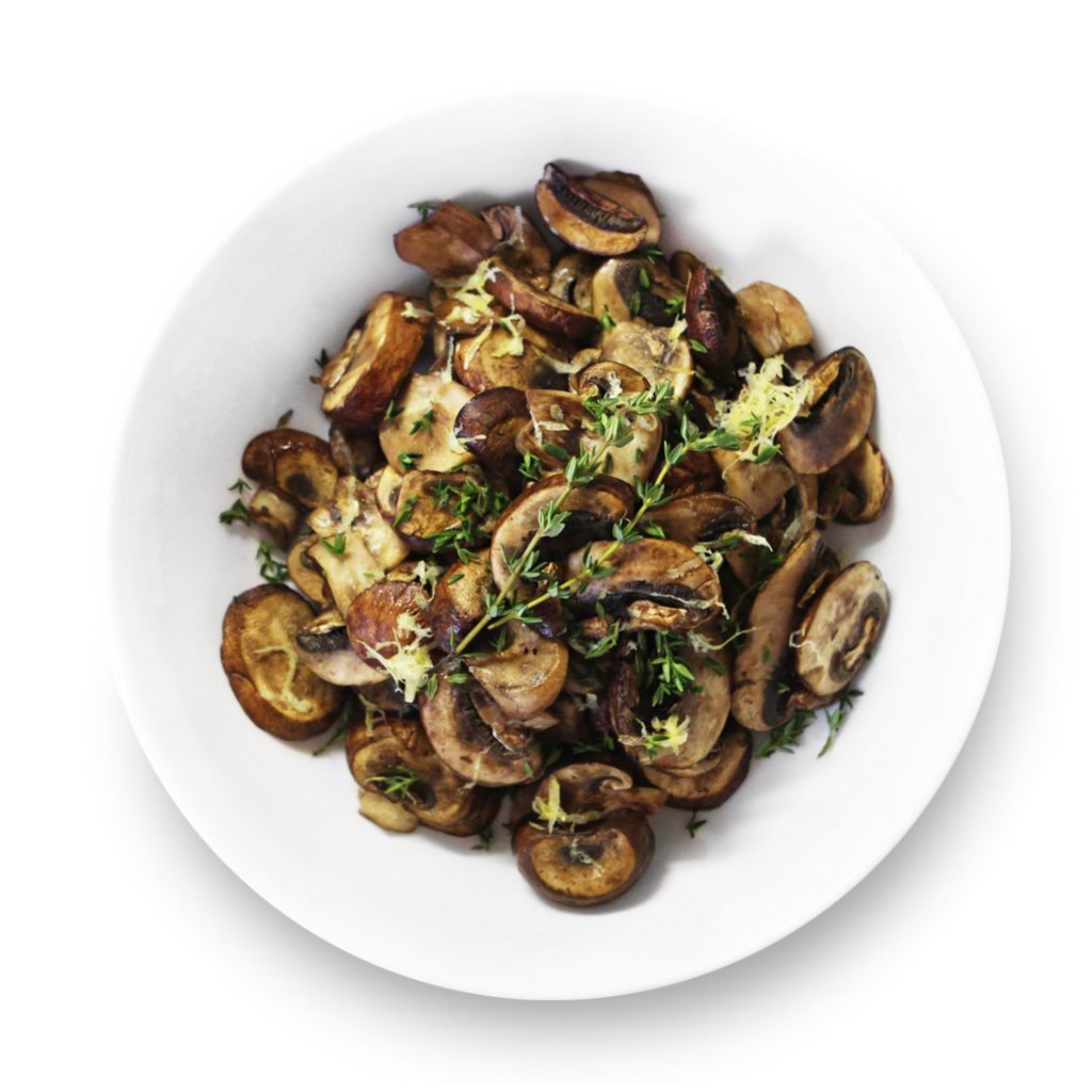Lemon and thyme roasted mushrooms in a bowl